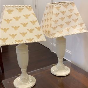 Set of off white table lamps made in ENGLAND